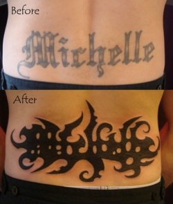 A larger tattoo prior to laser tattoo removal requires a much larger and darker cover up piece.