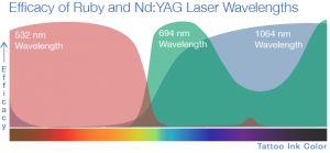 Effective Tattoo Removal depends on 3 active wavelengths. As you can see the PicoSure 755nm wavelength reaches no where near the scale for red inks.