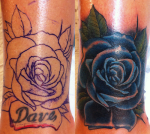 Cover up requiring darker ink to cover the existing