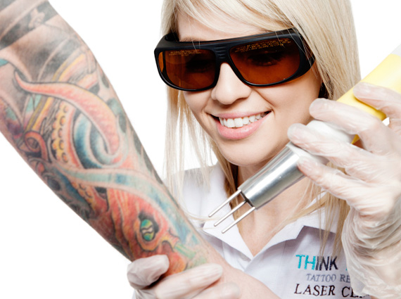 Laser treatment of tattoo disposal