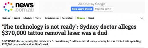 Cynosure PicoSure tattoo removal laser, Dr Pico Tattoo Removal claims picoSure laser does not work